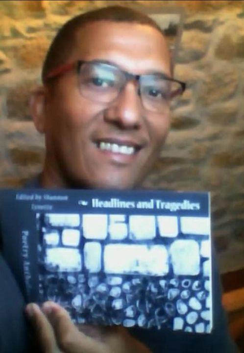 One of our own... author and poet Don Beukes  showing off our anthology project, Headlines and Tragedies! Check out his ...