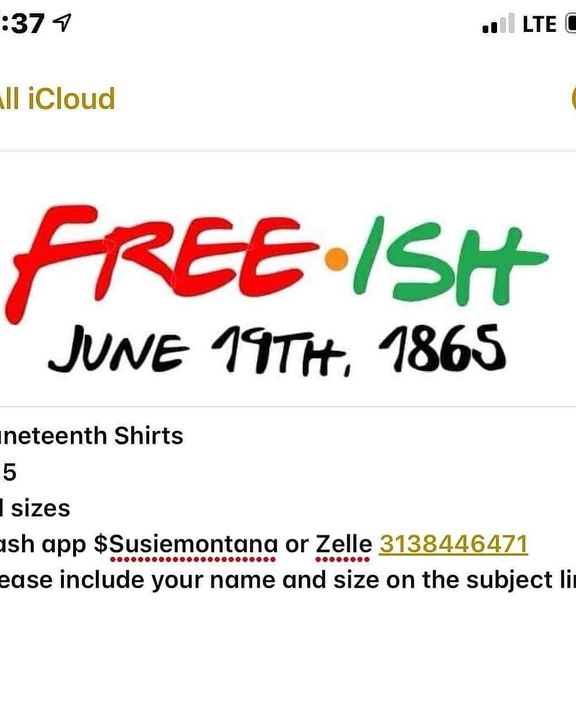 """Only one week left to celebrate that """"FREE·ISH"""" MOMENT. Why not get a shirt to match yo vibe?! 🤷🏽♀️Contact @simplysusie..."""