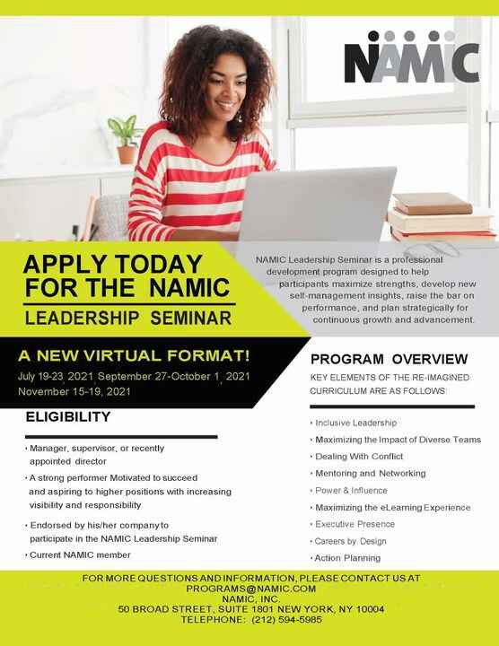 The NAMIC Leadership Seminar assembles top academics and practitioners from across the country to provide a leadership d...