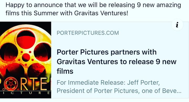 Happy to announce that we have partnered with #gravitasventures  to release 9 of our newest films this #summer @porter_p...