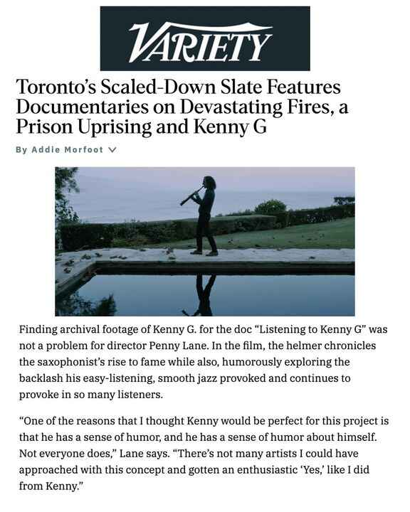 """Check out this Variety article about the documentary we worked on """"Listening to Kenny G."""" """"Listening to Kenny G"""" premier..."""