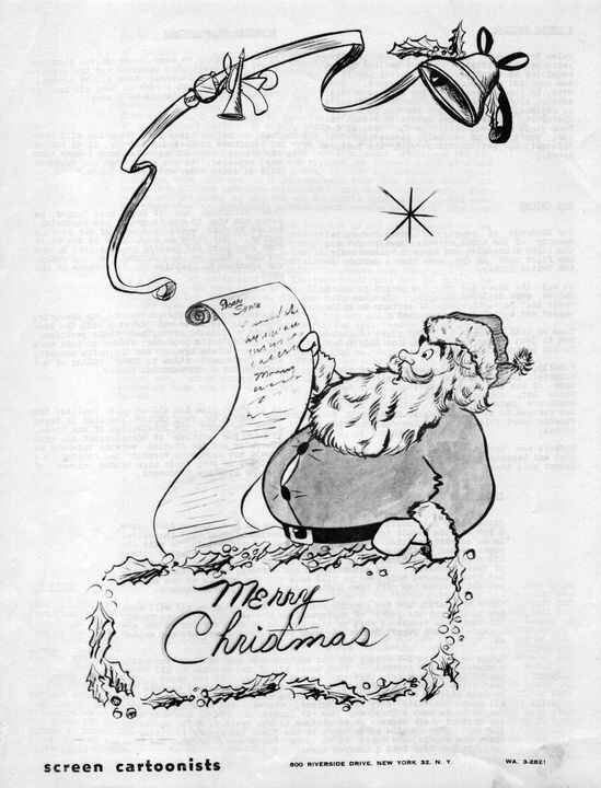 Happy Holidays (in July)Screen Cartoonists Guild 1951 (unsigned)