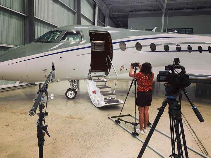 Filming at the Van Nuys Airport yesterday.