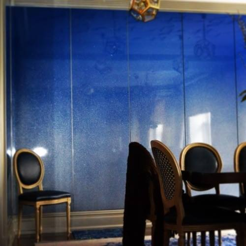 The Blue Room~Silver Dusted Laquer Wall Panels for Lynn Jacobson Design