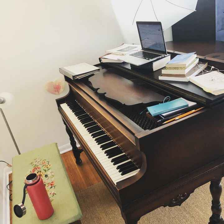 I try every day to end every day with a cleaned piano with all books and tools put away. And every day, piles accumulate...