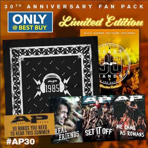 Don't miss out picking up the 30th Anniversary Alternative Press Fan Pack at Best Buy! It has a commemorative bandana, l...