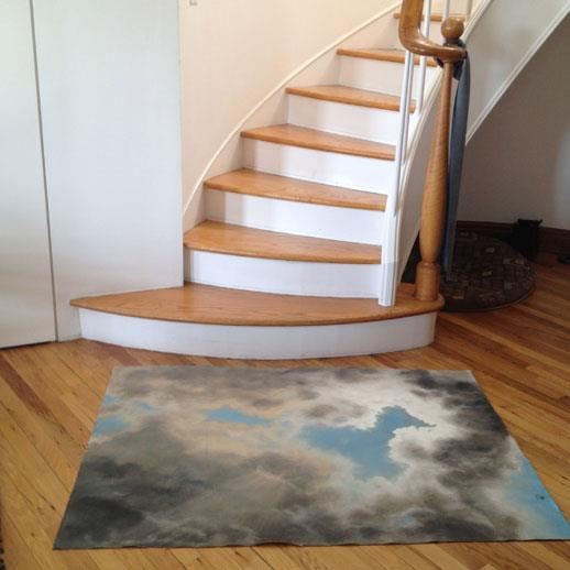 Hand Painted Floor Art by Hilary Mance.  These are treated with a clear coating so they can be easily wiped down.  Perfe...