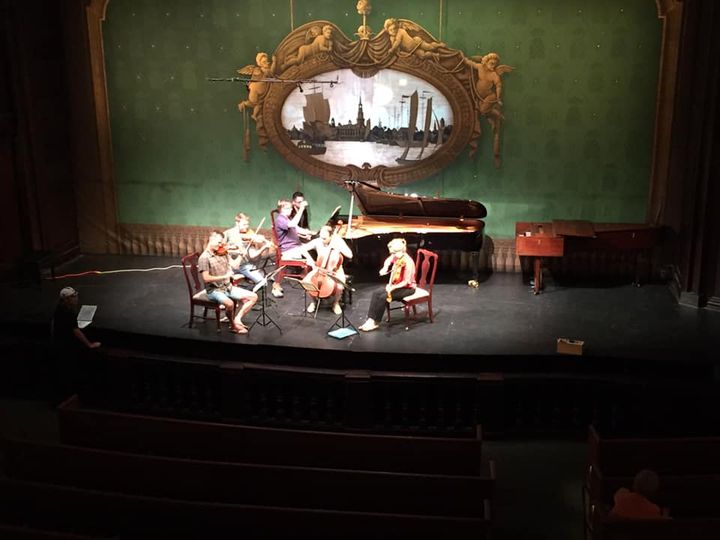 Getting ready to record the chamber music series at the Dock Street Theater in Charleston at Spoleto USA. 11 programs, 3...