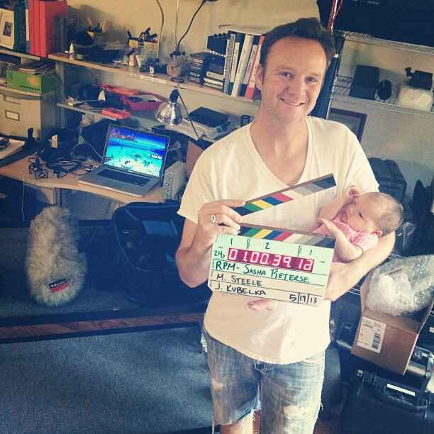 Johnny getting ready for another day of filming with Sasha Pieterse for her latest music video RPM.  Little Avy was help...