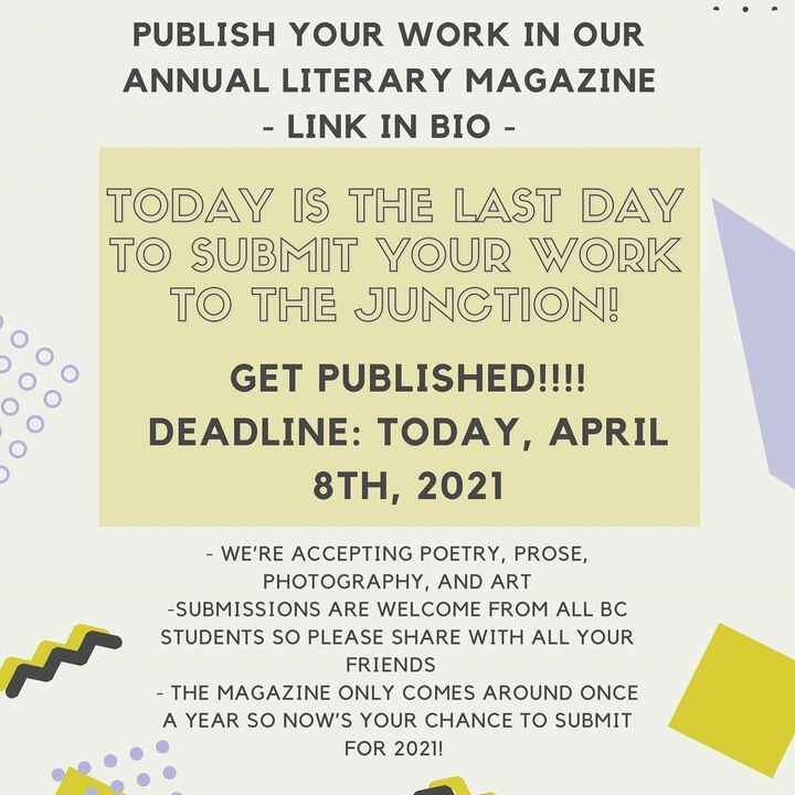 REMINDER: Today, April 8th is the LAST day to send in your poetry, prose, art, and photography submissions for our annua...