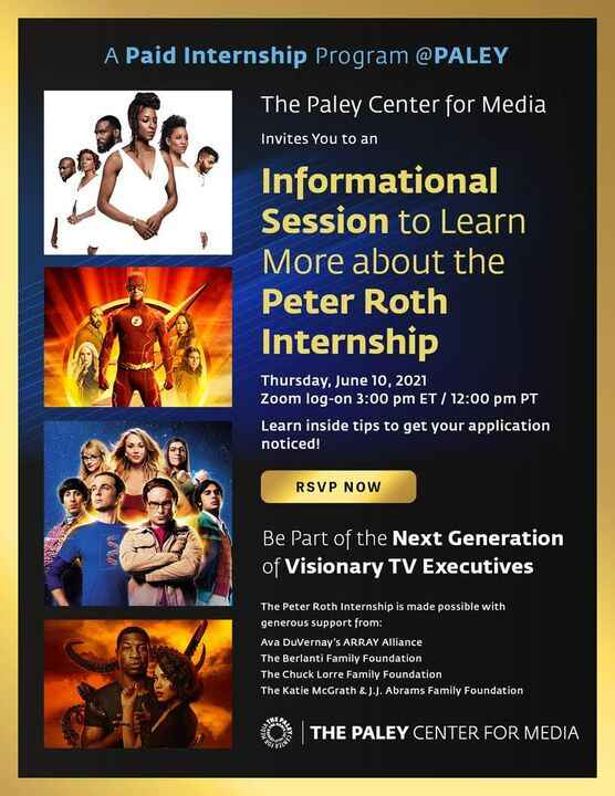 he Paley Center for Media will host a Free Q&A session on the Peter Roth Internship to directly answer questions from yo...