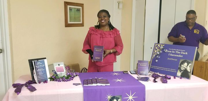 """Author JustDorcas - at book signing for her book """"Even In The Dark I Surrender"""".  Go to Currybrotherspublishing.com to o..."""