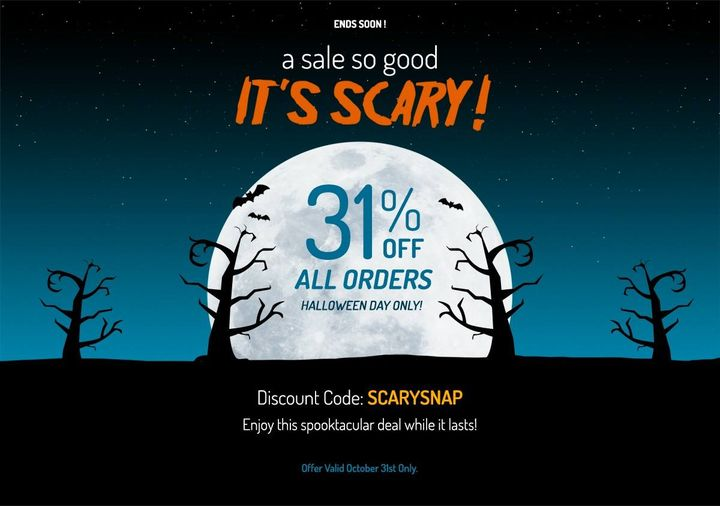 """Our Halloween sale is on! Today only, 31% OFF all orders. Enjoy this """"spooktacular"""" deal while it lasts! Use coupon code..."""