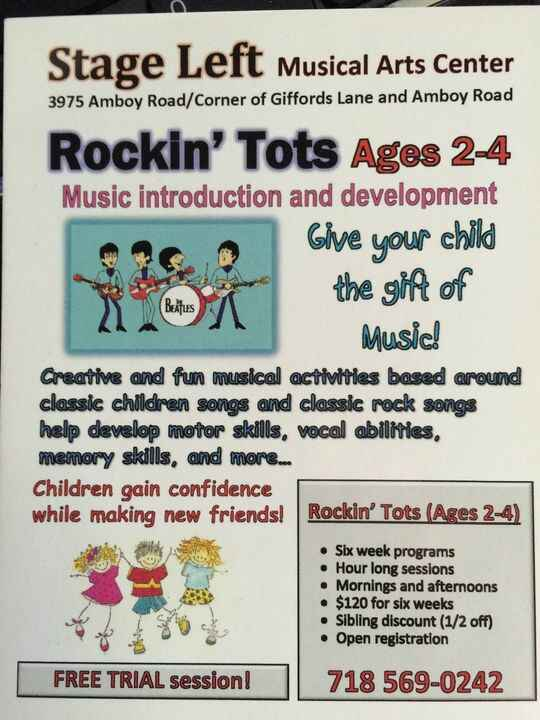 ROCKIN' TOTS for Ages 2-4. Give your child a gift that will last a lifetime, MUSIC!  Develop motor skills, vocal skills,...