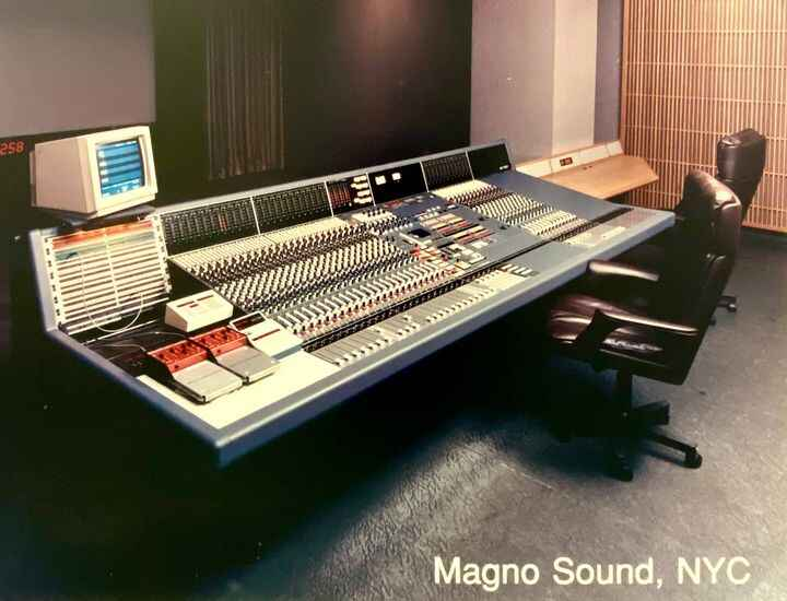 """In honor of Rupert Neve, posting this pic of Magno's Neve """"V"""" console w/""""flying faders."""""""