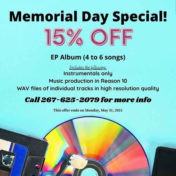 We are offering a one-time Memorial Day Special!!! 15% off our marquee studio package - the EP Album package (instrument...