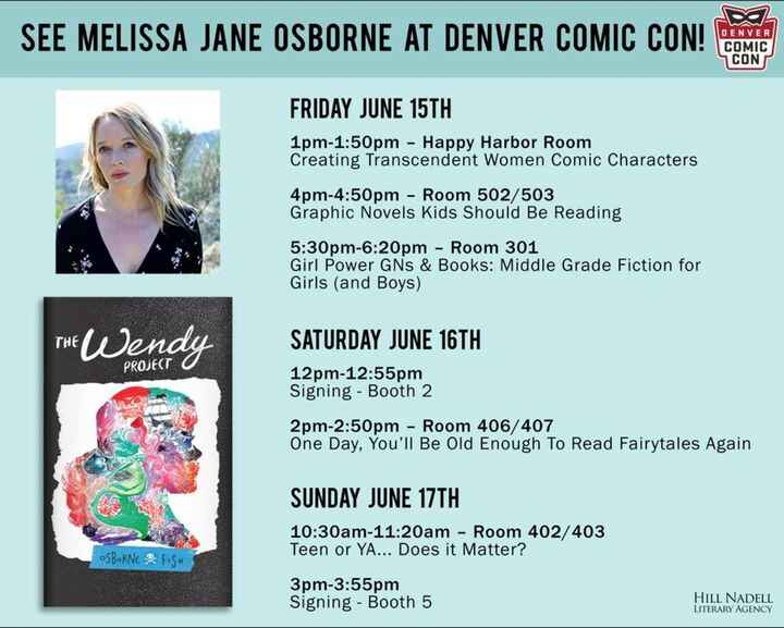 #denvercomiccon  attendees! Be sure to visit Melissa Jane Osborne, writer of THE WENDY PROJECT, and take a look at this ...