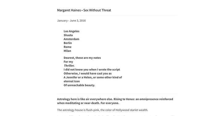 Margaret V Haines • Sex Without Threatfrom No_ns:;e;nsi/c::a_l, 2016 — (wrong)http://nonsensical.org/post/160856848328/m...