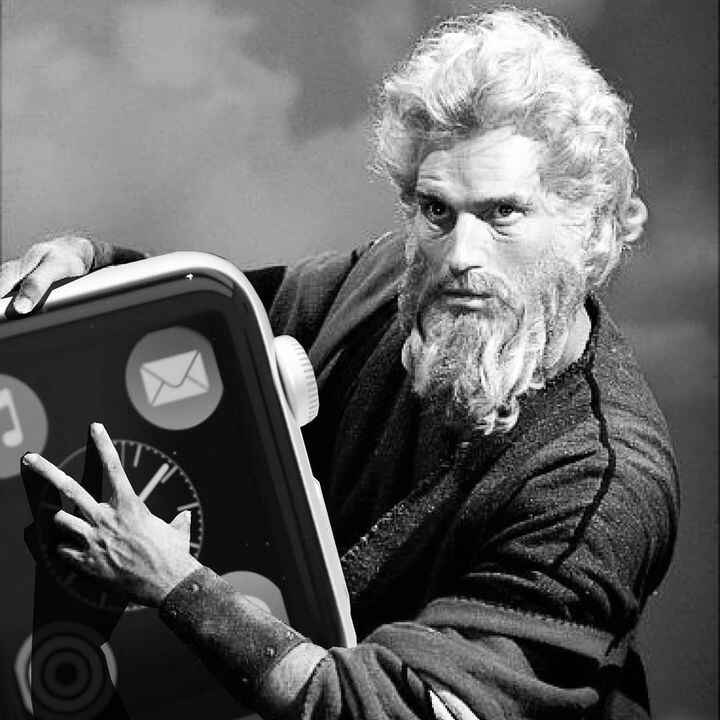 Moses comes down from the mountain to present us the 10x size iWatch.