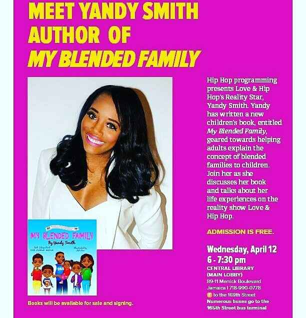 """Meet @yandysmith @queenslibrary Tomorrow April 12th at 6pm .Pick up her new book """"My Blended Family """" and get it signed...."""
