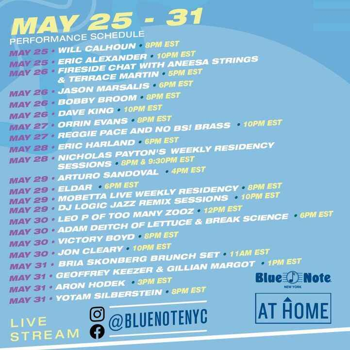 Some of our artists will be doing Live Streaming House Concerts for the Blue Note this month including Eric Alexander, G...