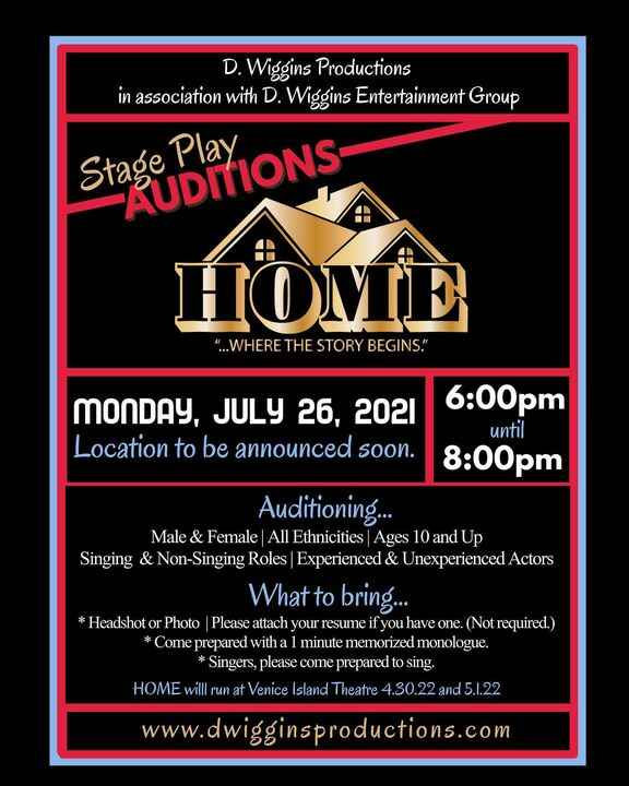 """It is with great excitement that I announce on Monday, July 26th I'll be holding auditions for my BRAND NEW stage play """"..."""